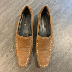 Ecco suede leather brown loafers pointed toe 40